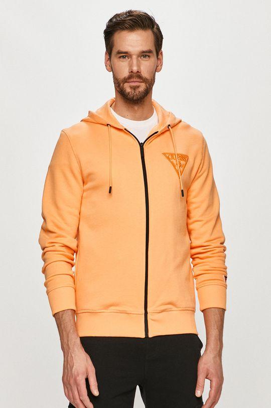 oranžová Guess - Bavlnená mikina Pánsky