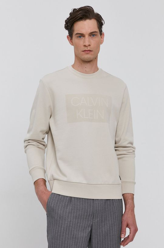 písková Calvin Klein - Bavlněná mikina Pánský