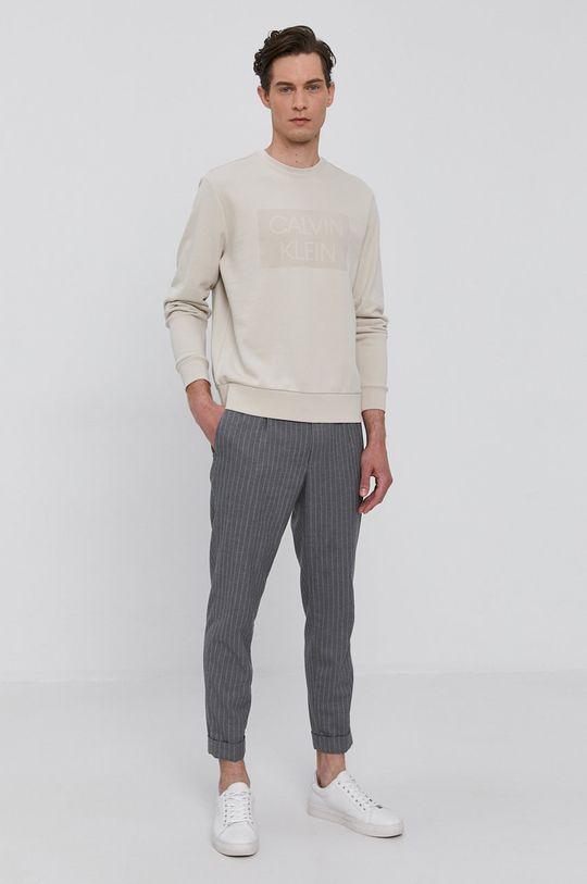 Calvin Klein - Bavlněná mikina písková