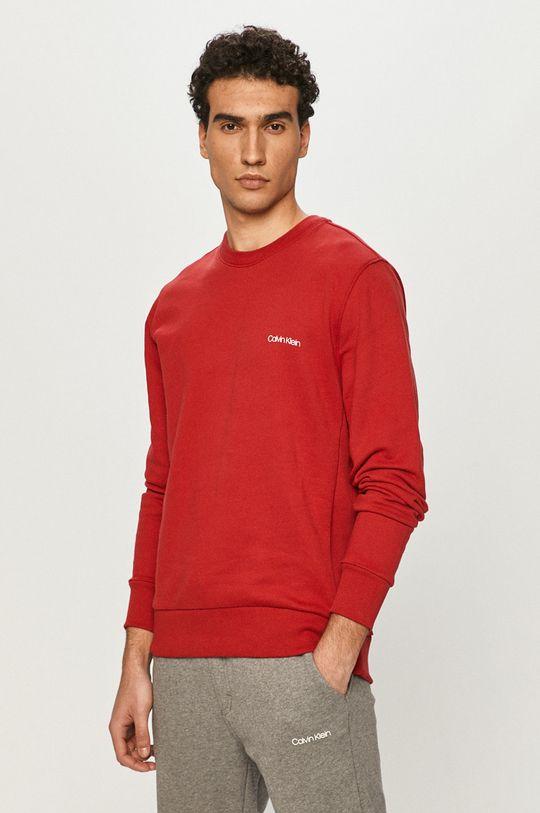 červená Calvin Klein - Bavlnená mikina Pánsky