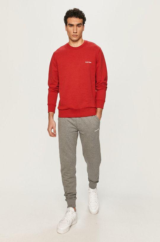 Calvin Klein - Bavlnená mikina červená