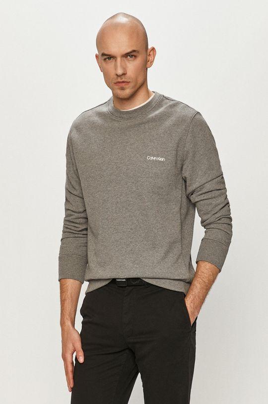 szary Calvin Klein - Bluza bawełniana Męski