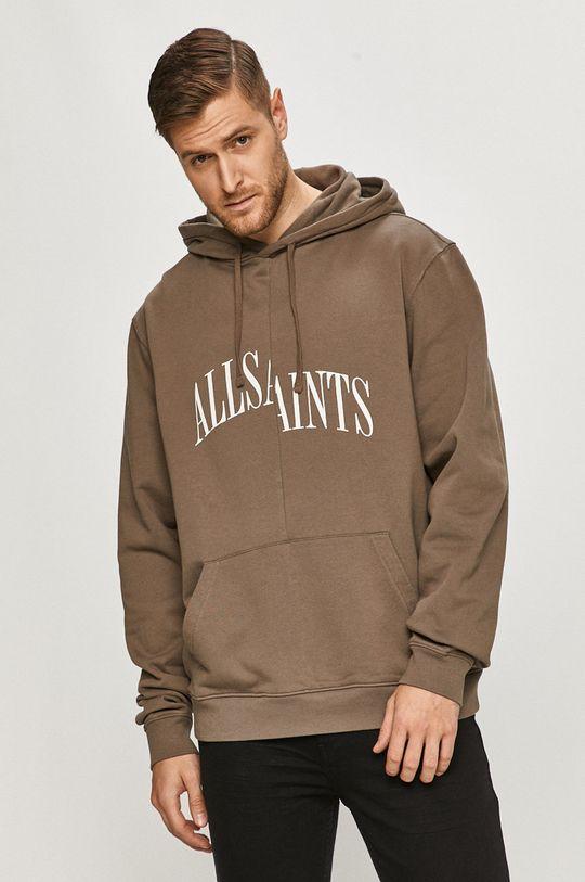 kawowy AllSaints - Bluza bawełniana Męski