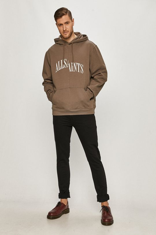 AllSaints - Bluza bawełniana kawowy