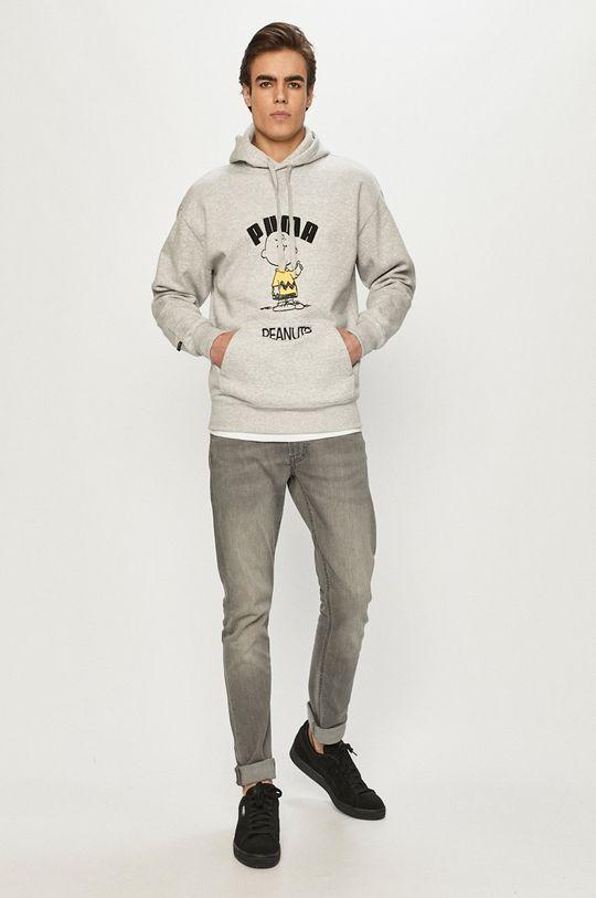 Puma - Mikina x Peanuts světle šedá