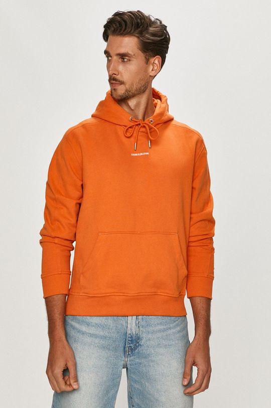 oranžová Calvin Klein Jeans - Bavlněná mikina Pánský