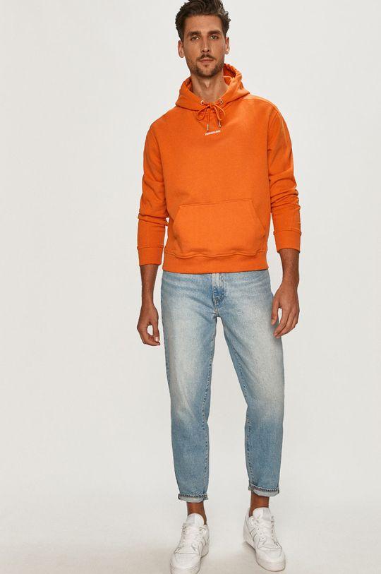 Calvin Klein Jeans - Bavlněná mikina oranžová