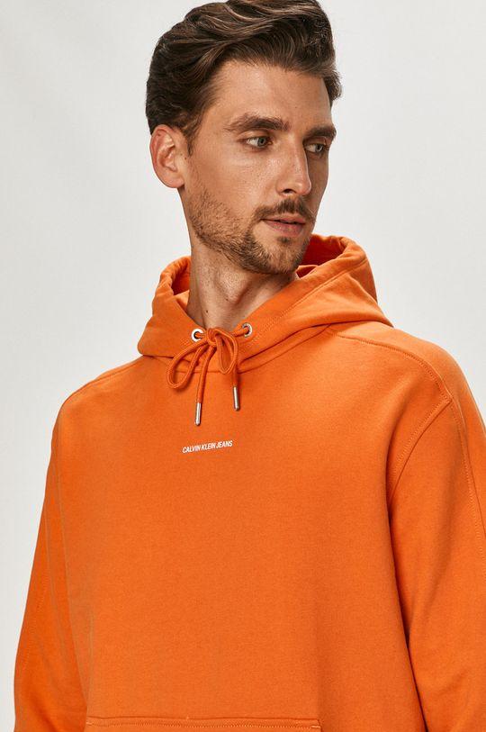 oranžová Calvin Klein Jeans - Bavlněná mikina
