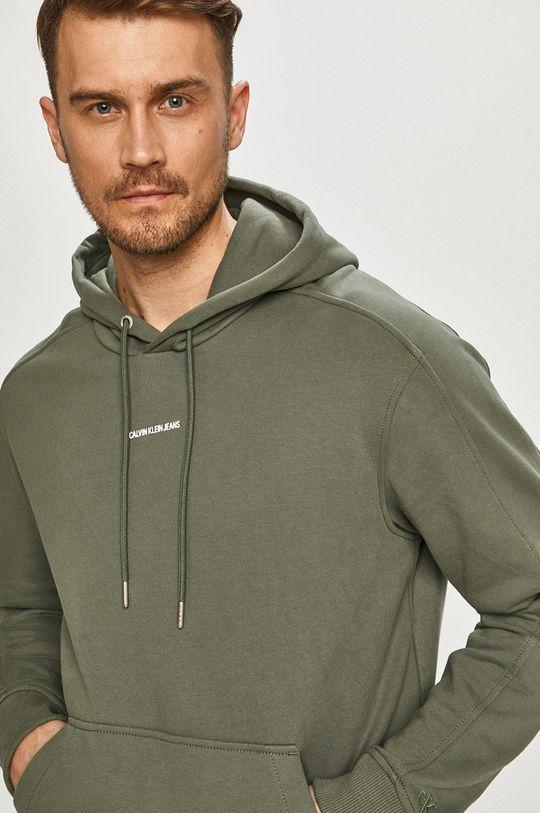 tlumená zelená Calvin Klein Jeans - Bavlněná mikina Pánský