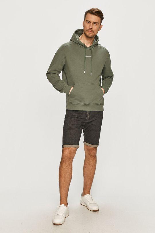 Calvin Klein Jeans - Bavlněná mikina tlumená zelená