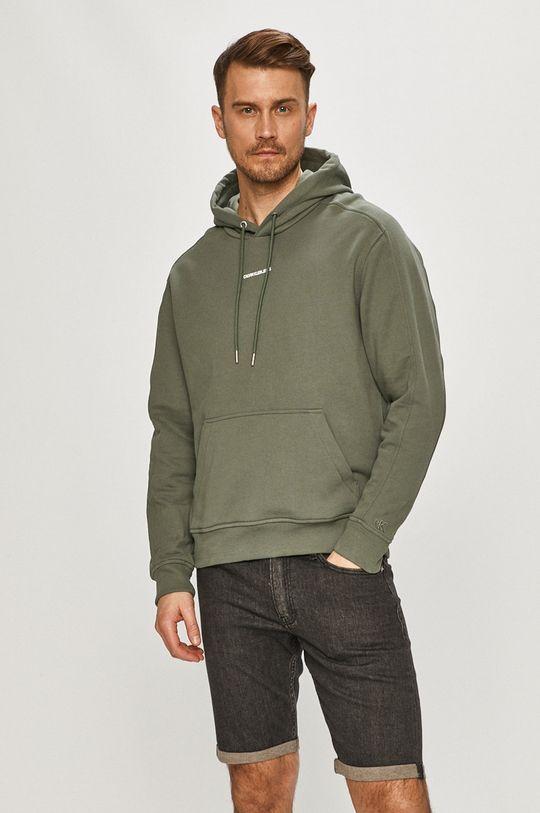 tlumená zelená Calvin Klein Jeans - Bavlněná mikina
