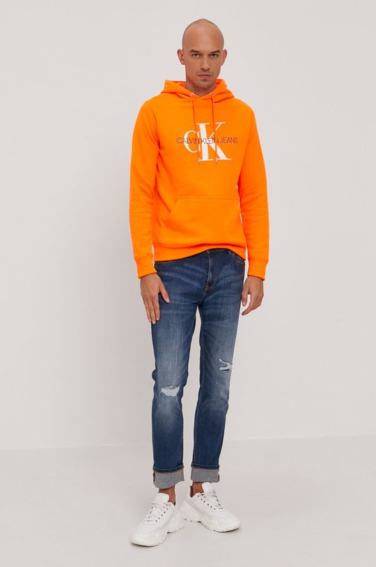 Calvin Klein Jeans - Bluza bawełniana pomarańczowy