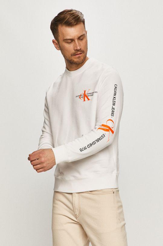 bílá Calvin Klein Jeans - Bavlněná mikina Pánský