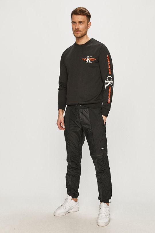 čierna Calvin Klein Jeans - Bavlnená mikina Pánsky