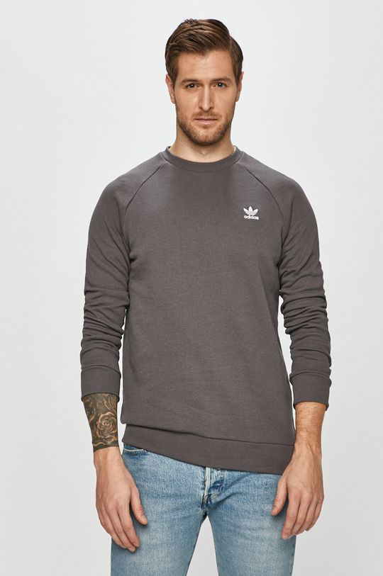 szary adidas Originals - Bluza bawełniana Męski