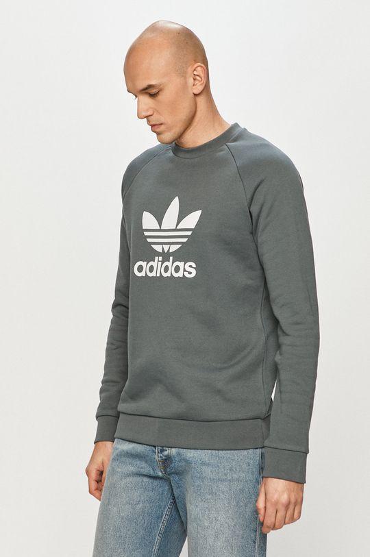 ocelová modrá adidas Originals - Bavlněná mikina Pánský