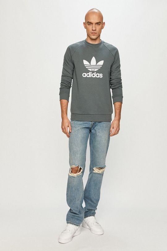 adidas Originals - Bavlněná mikina ocelová modrá