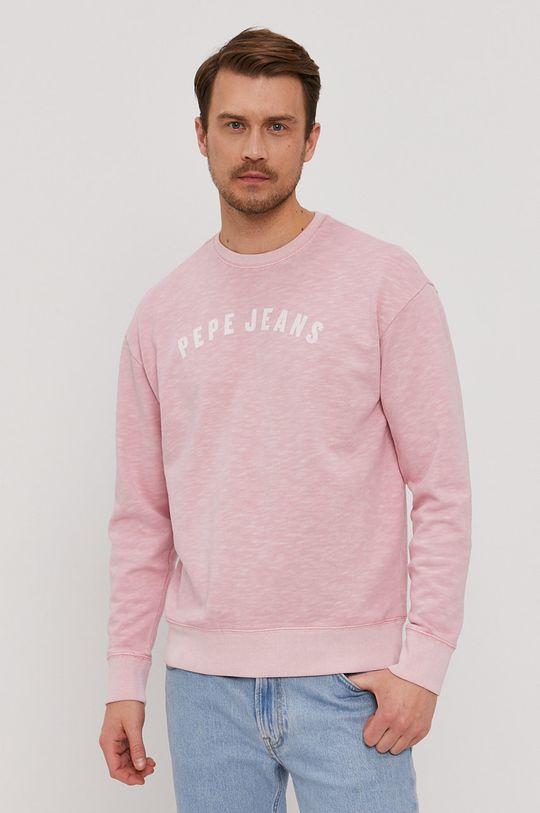 różowy Pepe Jeans - Bluza bawełniana Malik Męski