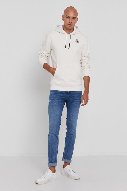 Hugo - Bluza bawełniana kremowy