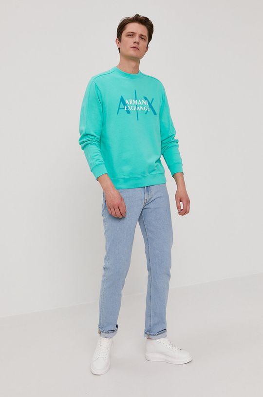 Armani Exchange - Bluza bawełniana jasny turkusowy
