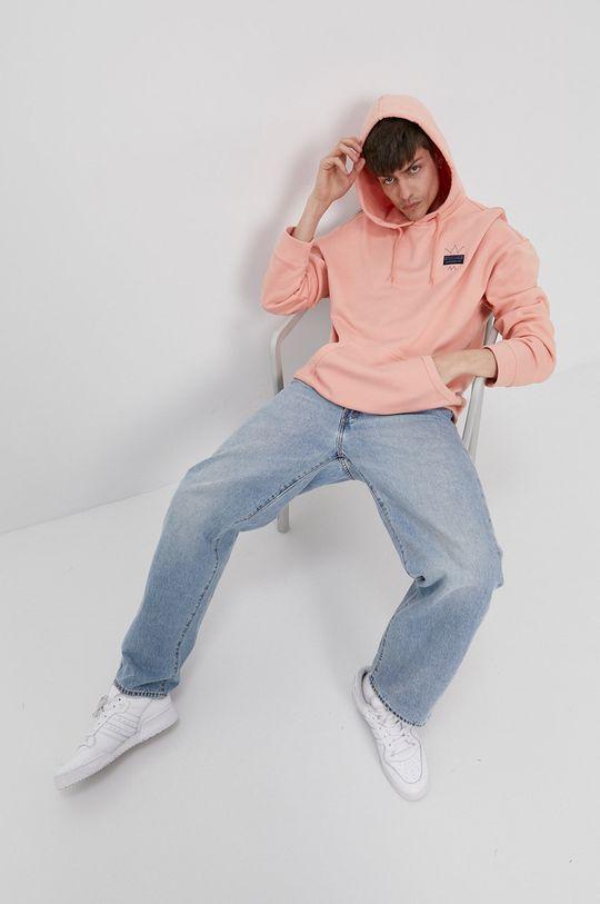 koralowy adidas Originals - Bluza bawełniana Męski