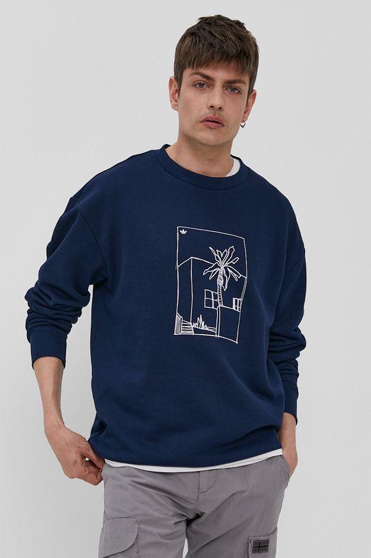 granatowy adidas Originals - Bluza bawełniana Męski