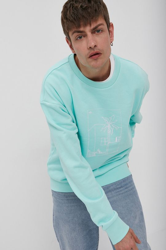 blady turkusowy adidas Originals - Bluza bawełniana Męski