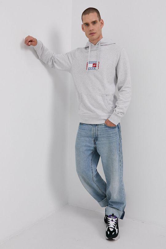 Tommy Jeans - Bavlněná mikina světle šedá