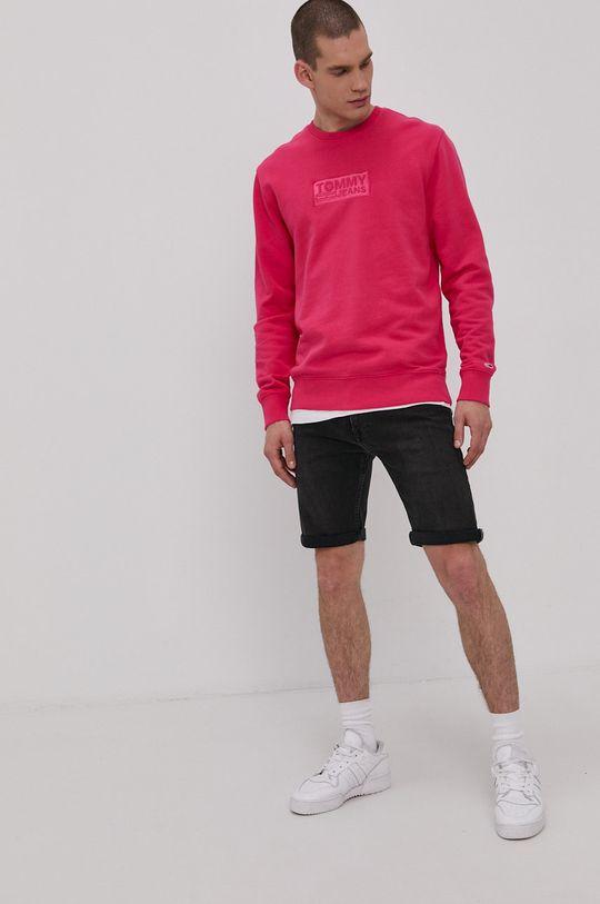 różowy Tommy Jeans - Bluza bawełniana