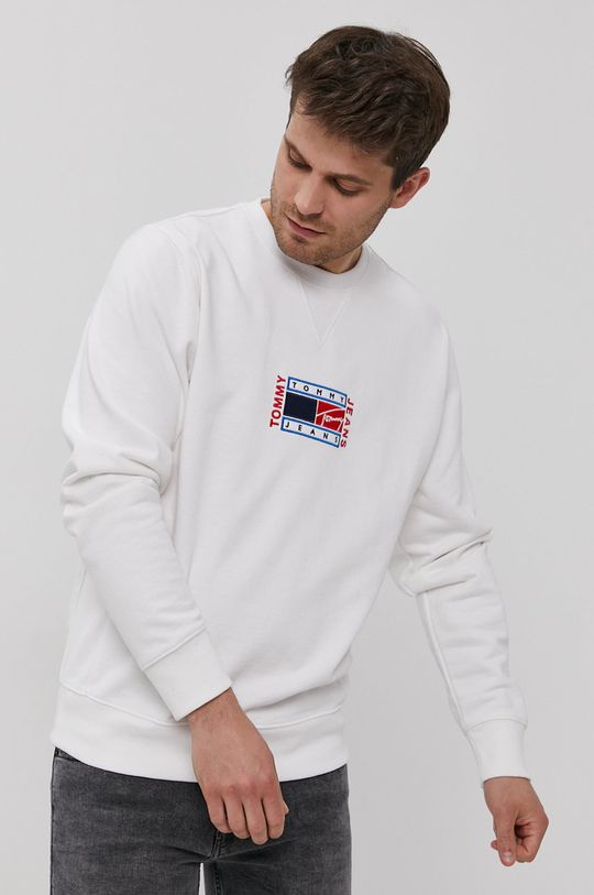 biały Tommy Jeans - Bluza bawełniana Męski