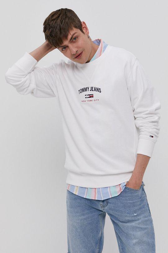 Tommy Jeans - Bavlněná mikina bílá