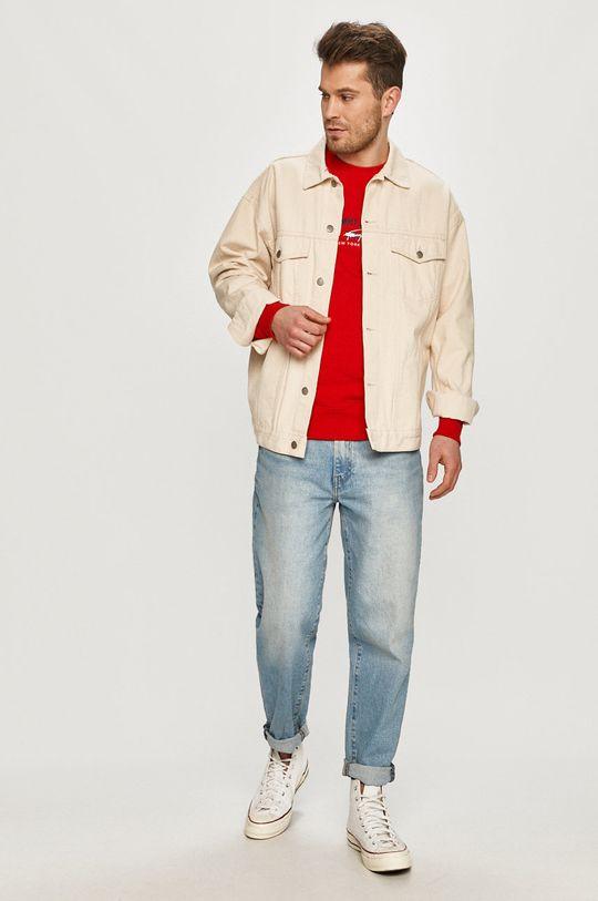 Tommy Jeans - Bavlněná mikina červená