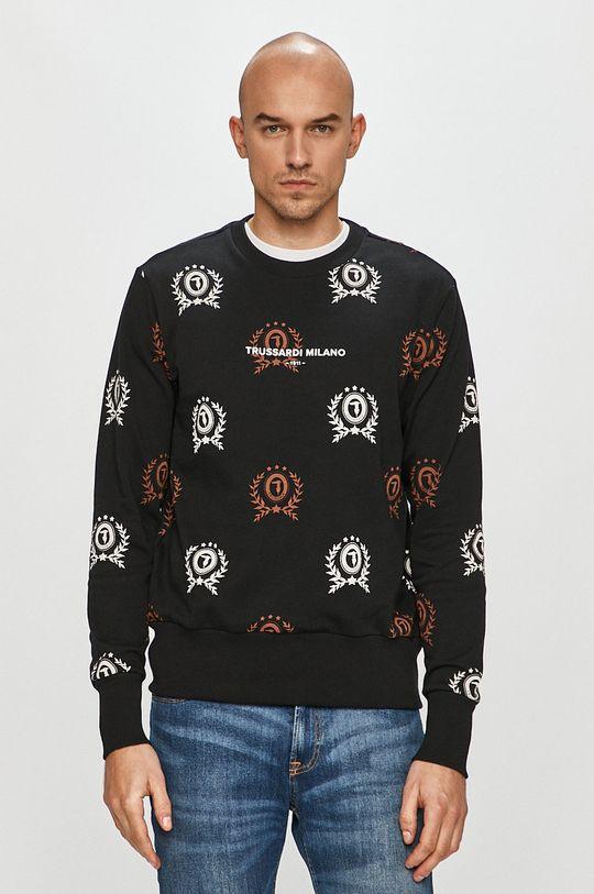 černá Trussardi Jeans - Bavlněná mikina Pánský