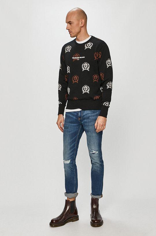 Trussardi Jeans - Bavlněná mikina černá