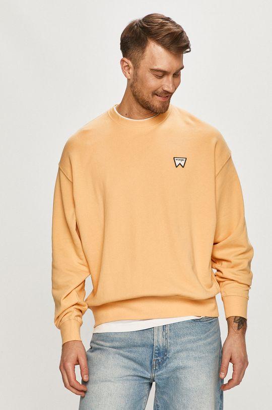 jasně oranžová Wrangler - Bavlněná mikina Pánský