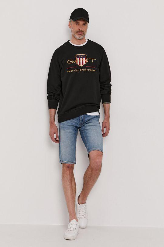 czarny Gant - Bluza Męski