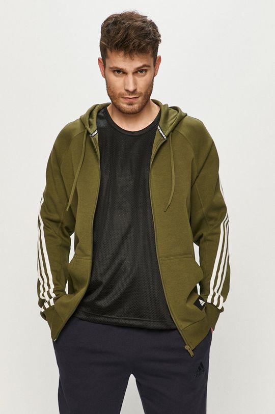 oliwkowy adidas Performance - Bluza Męski