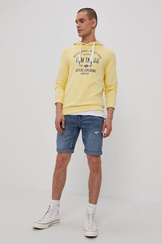 Tom Tailor - Bluza bawełniana jasny żółty