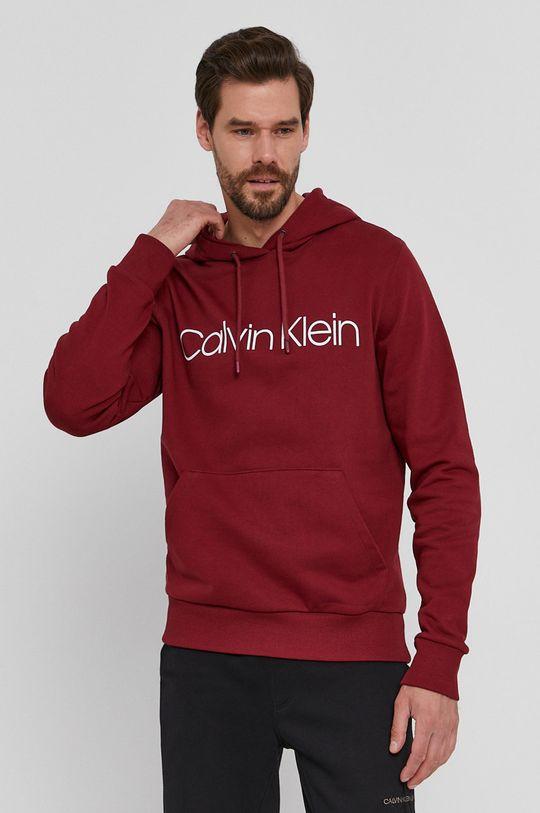 kaštanová Calvin Klein - Bavlněná mikina Pánský