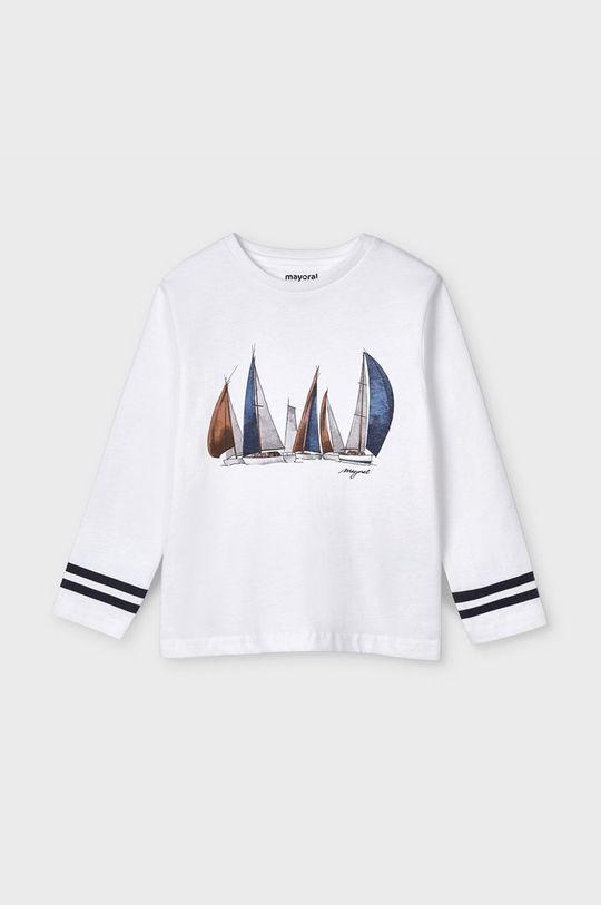 Mayoral - Detské tričko s dlhým rukávom biela