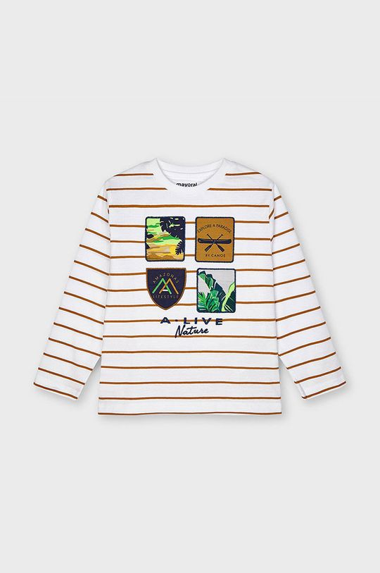 Mayoral - Detské tričko s dlhým rukávom zlatohnedá