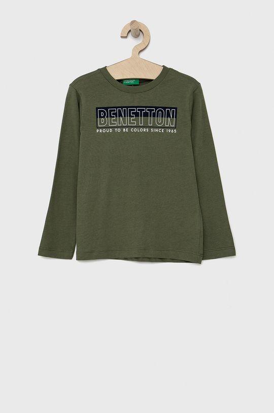 tlumená zelená United Colors of Benetton - Dětské tričko s dlouhým rukávem Chlapecký