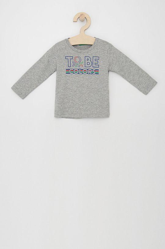 světle šedá United Colors of Benetton - Dětské tričko s dlouhým rukávem Chlapecký