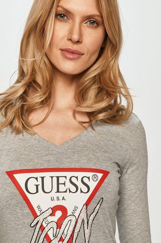 svetlosivá Guess - Tričko s dlhým rukávom
