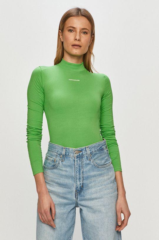 zelená Calvin Klein Jeans - Tričko s dlhým rukávom Dámsky