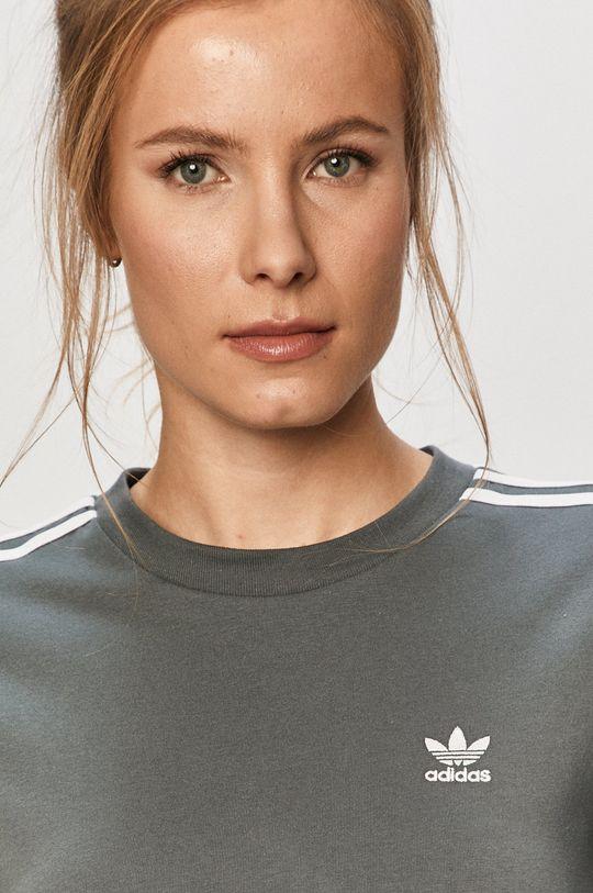 oceľová modrá adidas Originals - Tričko s dlhým rukávom