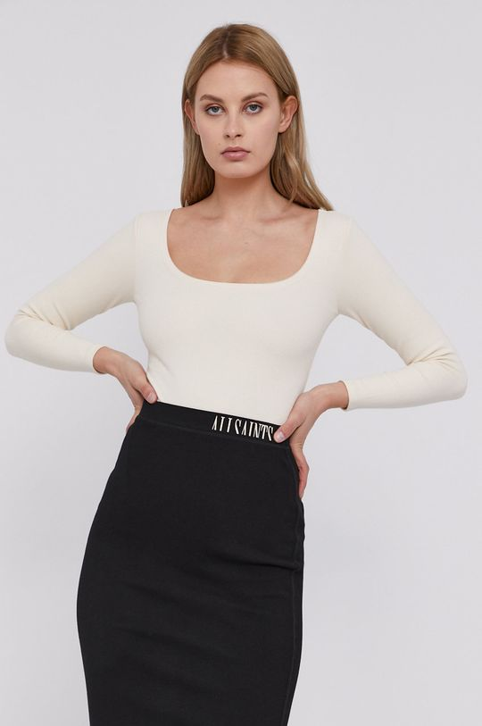 krémová AllSaints - Tričko s dlhým rukávom Dámsky