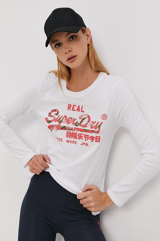 bílá Superdry - Tričko s dlouhým rukávem Dámský