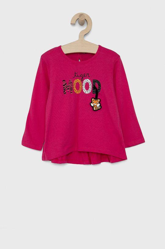 fuchsiová United Colors of Benetton - Dětské tričko s dlouhým rukávem Dívčí