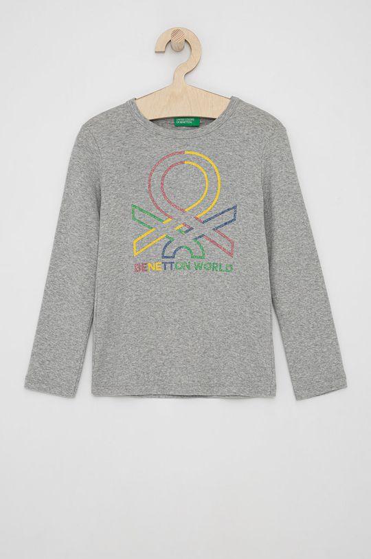 světle šedá United Colors of Benetton - Dětské tričko s dlouhým rukávem Dívčí
